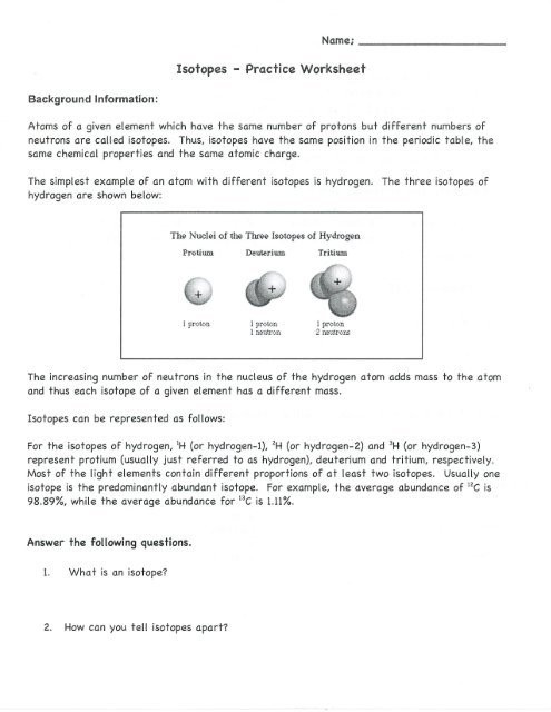 Build An atom Worksheet Answers isotopes Worksheet Answers Part 3