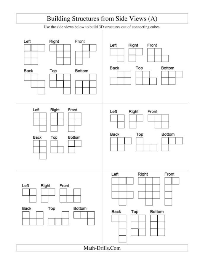 Building Macromolecules Worksheet Answers Building Connecting Cube Structures From Side Views Cubes