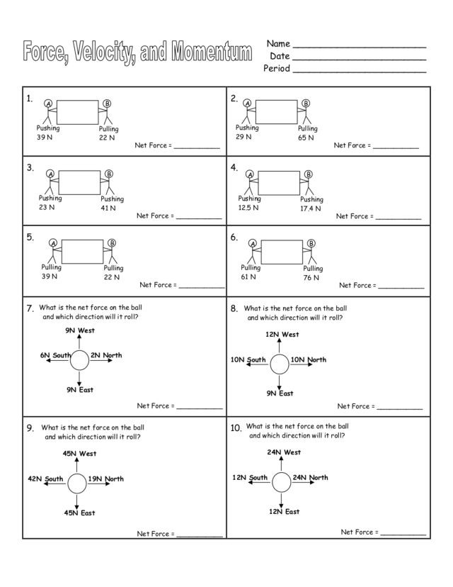 Calculating force Worksheet Answers force Velocity and Momentum Worksheet for 9th 12th Grade
