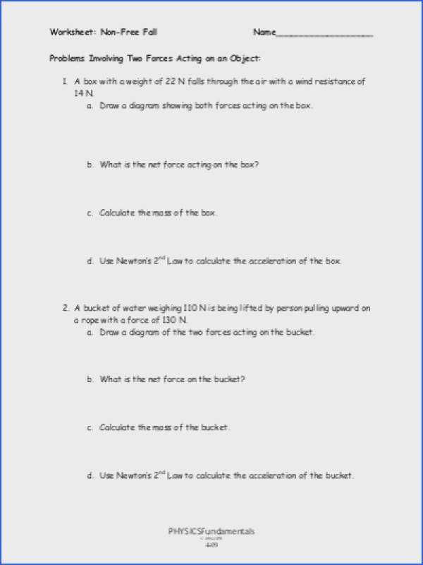 Calculating force Worksheet Answers Net force Worksheet Answers Worksheet List