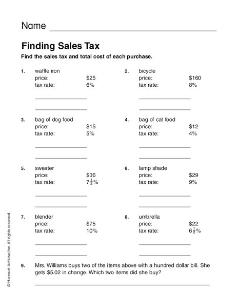 Calculating Sales Tax Worksheet Finding Sales Tax Worksheet for 2nd 4th Grade