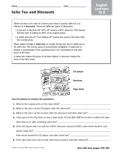 Calculating Sales Tax Worksheet Sales Tax and Discounts English Learners Worksheet for 5th