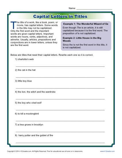 Capitalization Worksheet Middle School Capitalization Activity Letters In Titles