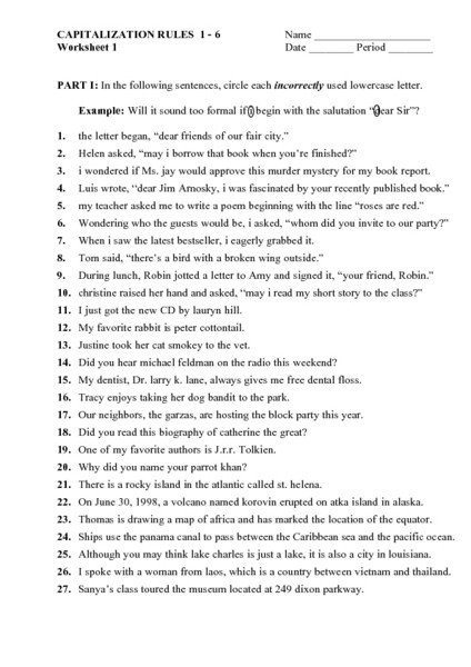 Capitalization Worksheet Middle School Capitalization Rules Worksheet for 6th 8th Grade Lesson