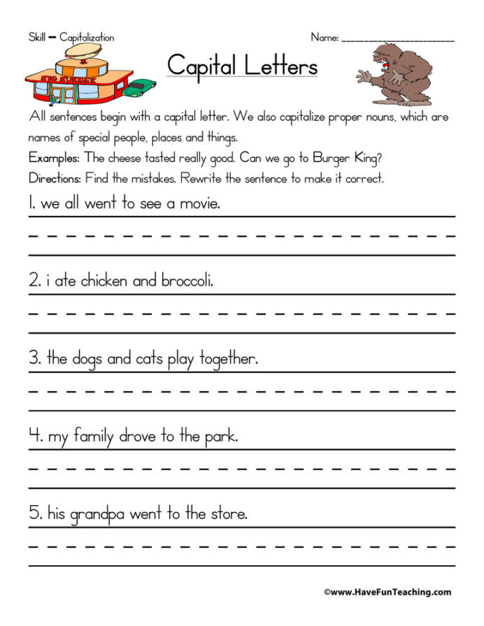 Capitalization Worksheet Middle School Grade Nine Math Teaching Capitalization Worksheets Cause and