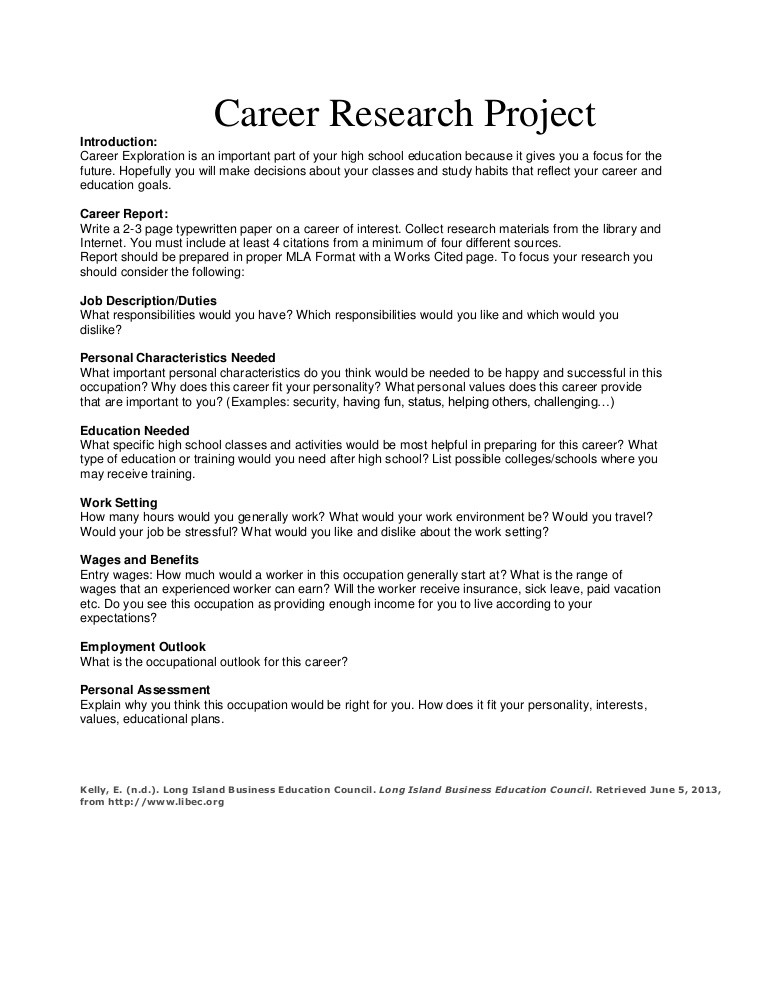 Career Worksheets for Middle School Career Research Project
