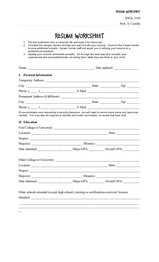 Career Worksheets for Middle School Resume Objective Worksheet Resume Worksheets Critical