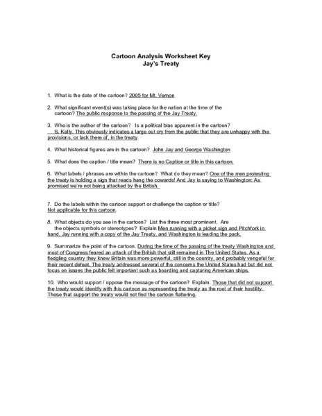 Cartoon Analysis Worksheet Answers Cartoon Analysis Worksheet Key Jay S Treaty Worksheet for