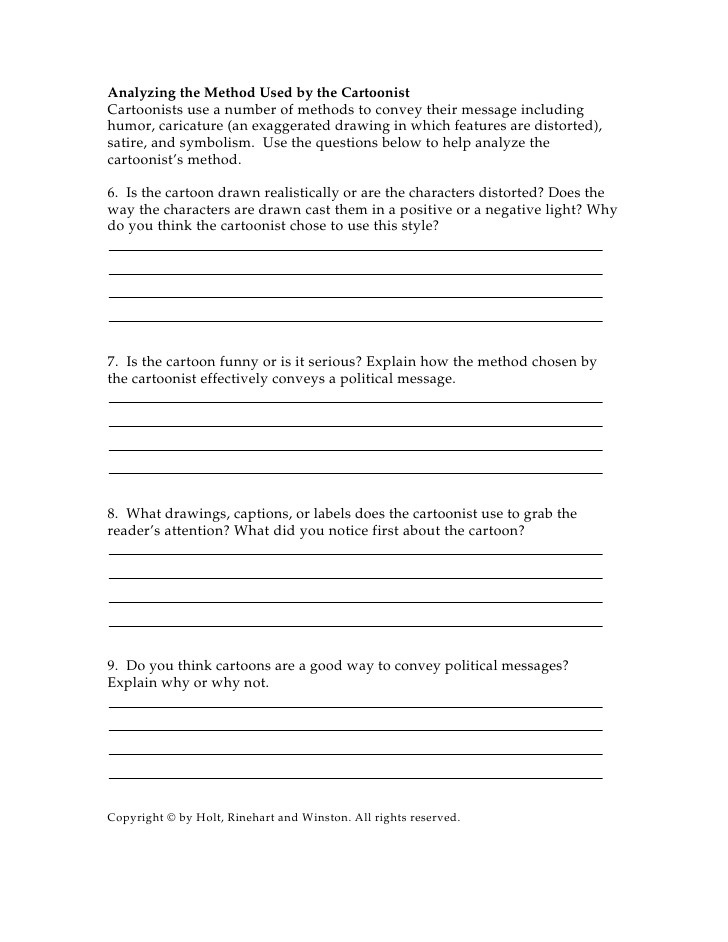 Cartoon Analysis Worksheet Answers Cartoon Worksheet Short Answers