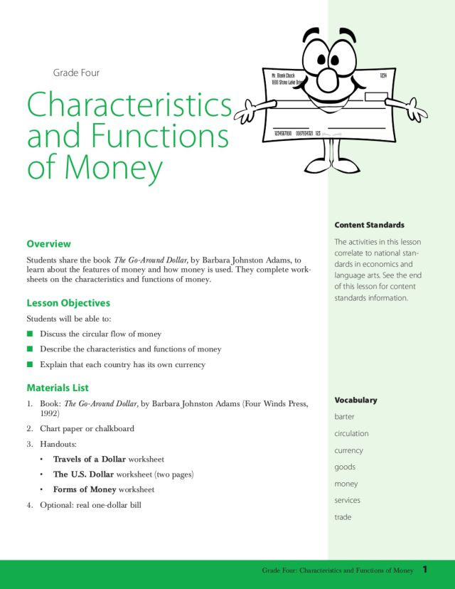 Characteristics Of Functions Worksheet Characteristics and Functions Of Money Lesson Plan for 4th