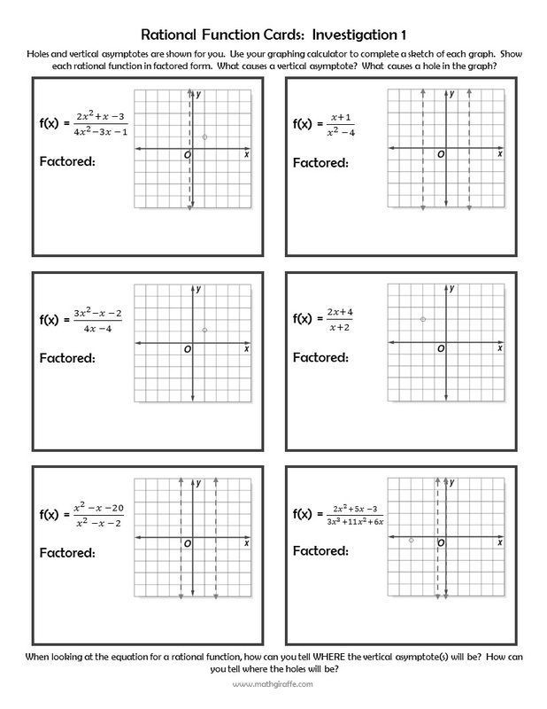 Characteristics Of Functions Worksheet Investigating Rational Functions Free Inquiry Lesson