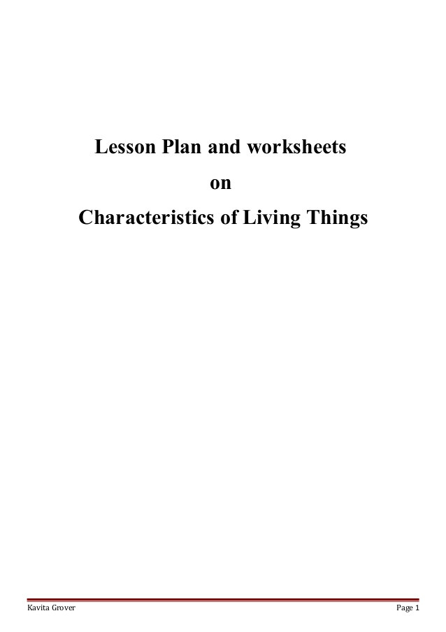 Characteristics Of Life Worksheet Answers Lesson Plan and Worksheets On Characteristics Of Living Lhings