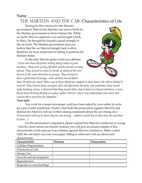 Characteristics Of Life Worksheet Answers Marvin the Martian Characteristics Of Living Things 08 09 Pdf