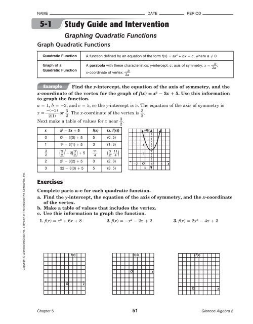 Characteristics Of Quadratic Functions Worksheet 5 1 Study Guide and Intervention Graphing Quadratic