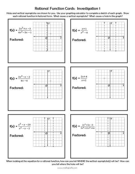 Characteristics Of Quadratic Functions Worksheet Investigating Rational Functions Free Inquiry Lesson