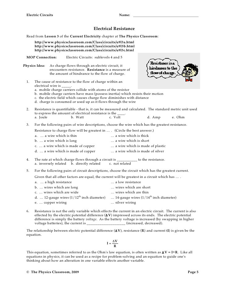 Charge and Electricity Worksheet Answers Circuit Worksheets