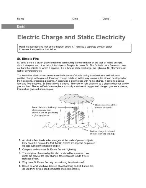Charge and Electricity Worksheet Answers Electric Charge and Static Electricity Enrich Activity Pdf