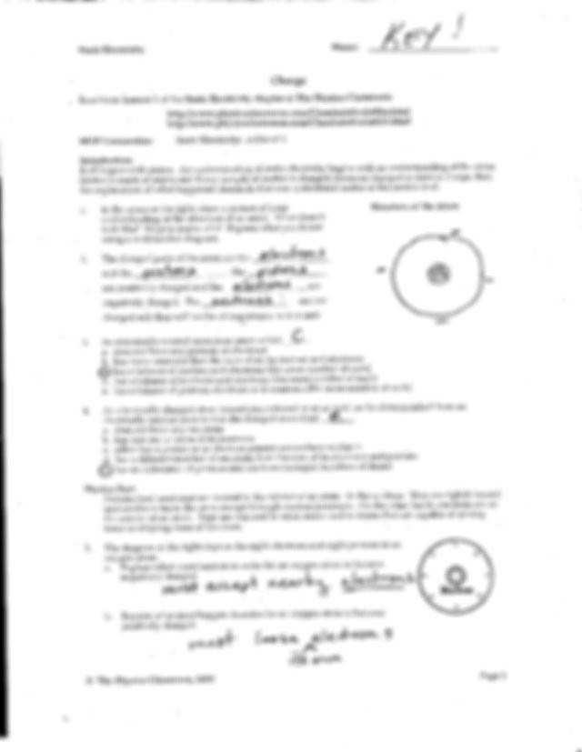 Charge and Electricity Worksheet Answers Electric Charge and Static Electricity Worksheet Answers لم