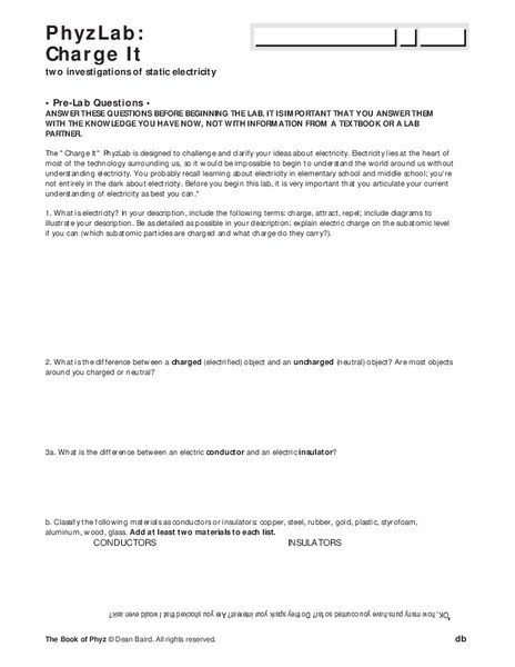 Charge and Electricity Worksheet Answers Phyzlab Charge It Worksheet for 10th 12th Grade