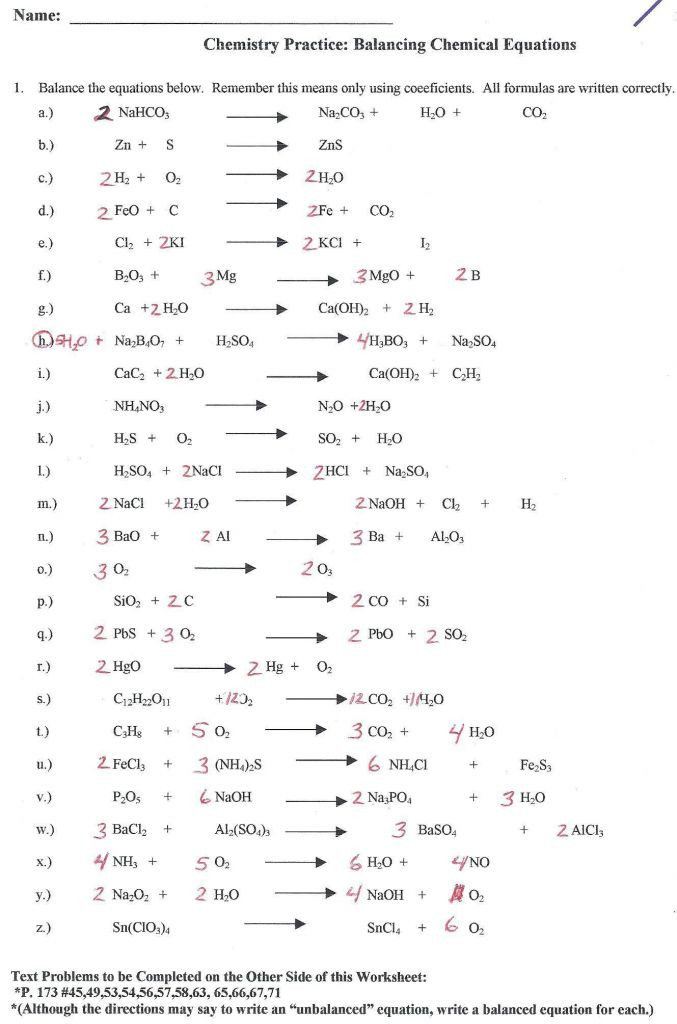 Chemical formula Worksheet Answers Balancing Chemical Equations Practice Worksheet Class 10