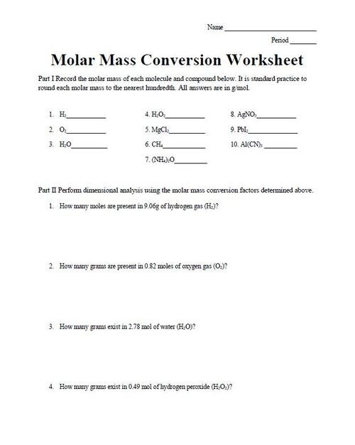 Chemistry Conversion Factors Worksheet Mass to Molecules Conversion Worksheet Amped Up Learning