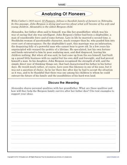 Cite Textual Evidence Worksheet Analyzing O Pioneers