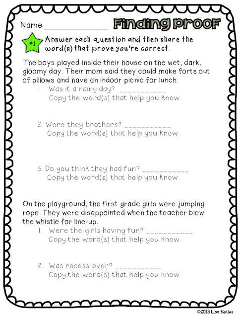 Cite Textual Evidence Worksheet Finding Proof and Citing Text Evidence