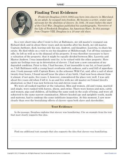 Cite Textual Evidence Worksheet Finding Text Evidence Frederick Douglass
