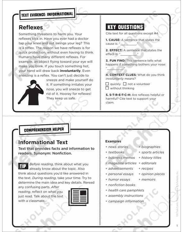 Cite Textual Evidence Worksheet Reflexes Text Evidence Task Card