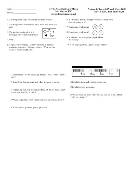 Classification Of Matter Worksheet Classification Of Matter Worksheet for 9th 10th Grade