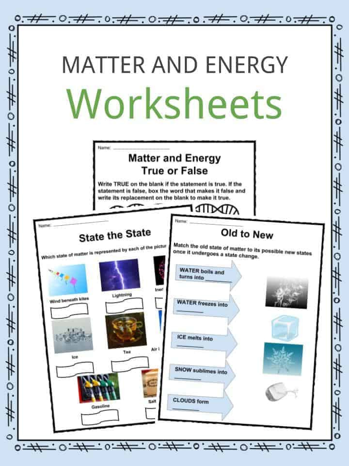 Classification Of Matter Worksheet Matter and Energy Facts Worksheets & Information for Kids