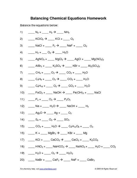 Classifying Chemical Reactions Worksheet Balancing Chemical Equations Worksheet