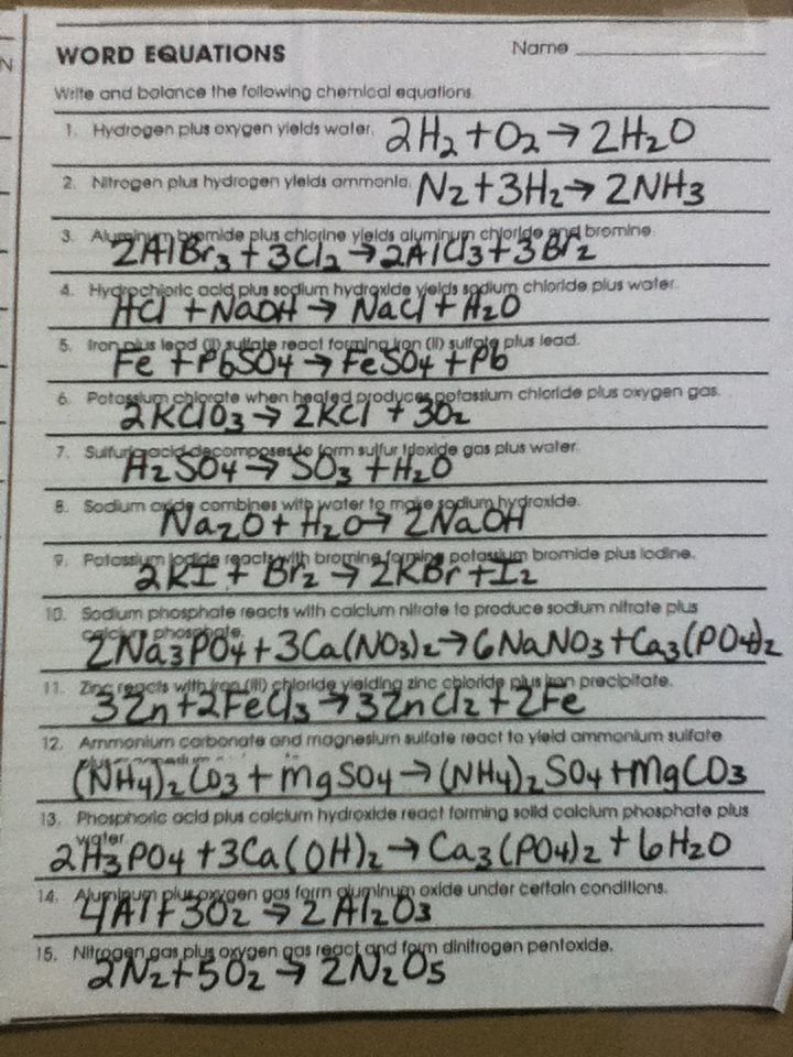 Classifying Chemical Reactions Worksheet Classifying Chemical Reactions Worksheet Answers Google