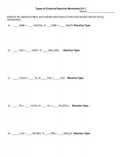 Classifying Chemical Reactions Worksheet Six Types Of Chemical Reaction Worksheet