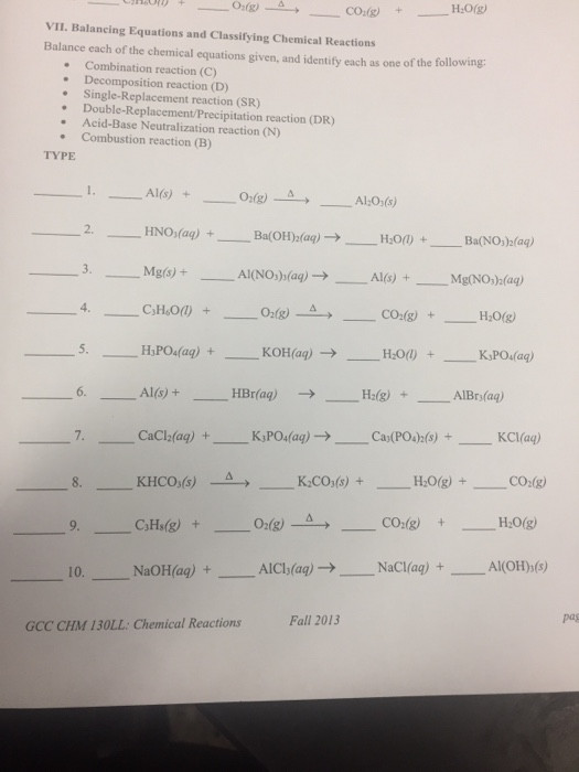 Classifying Chemical Reactions Worksheet solved Vii Balancing Equations and Classifying Chemical