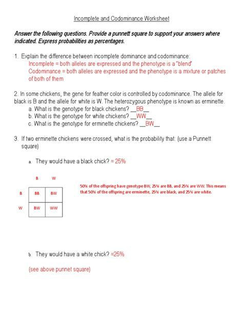 Codominance Worksheet Blood Types In Plete and Codominance Worksheet Nidecmege