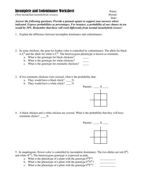 Codominance Worksheet Blood Types In Plete and Codominance Worksheet