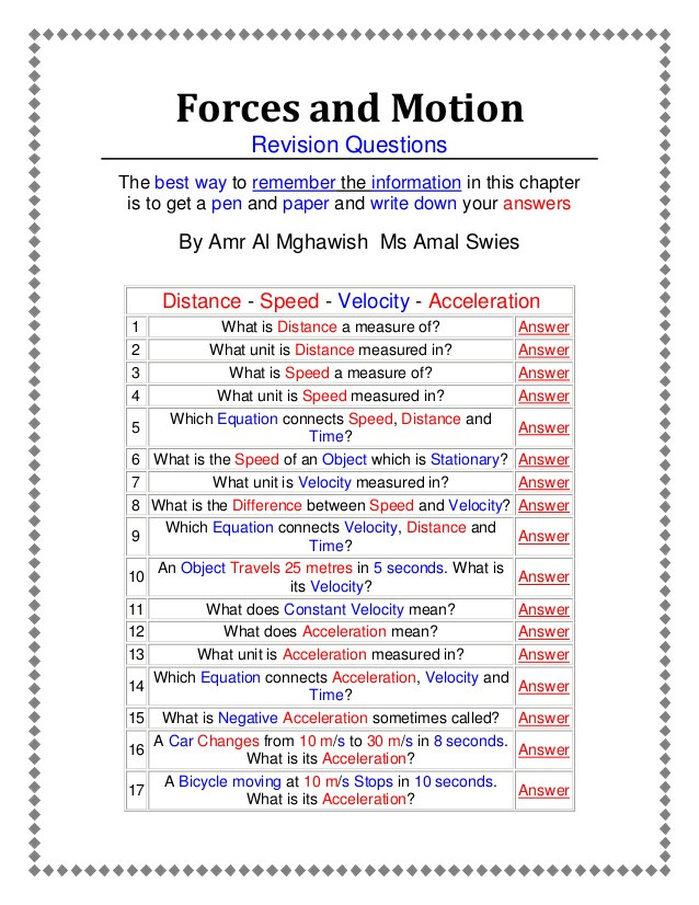 Coefficient Of Friction Worksheet Answers forces and Motion An Active Worksheet Prepared by Amr