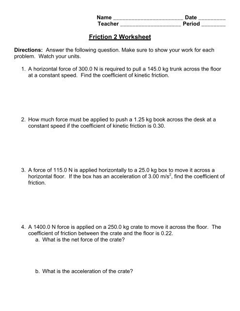 Coefficient Of Friction Worksheet Answers Friction 2 Worksheet