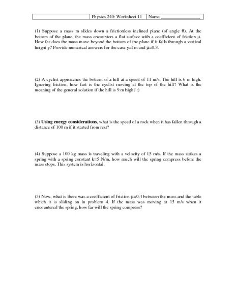 Coefficient Of Friction Worksheet Answers Physics 240 11 Worksheet for 10th Higher Ed