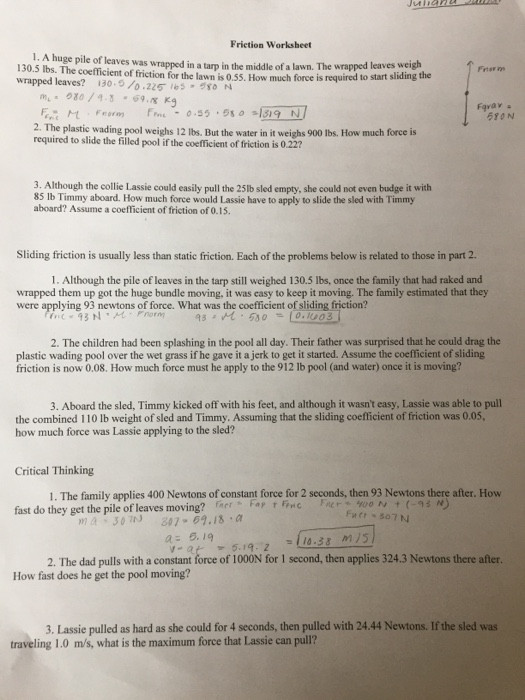 Coefficient Of Friction Worksheet Answers solved Question 1 Goes with the Other Two Question Es W