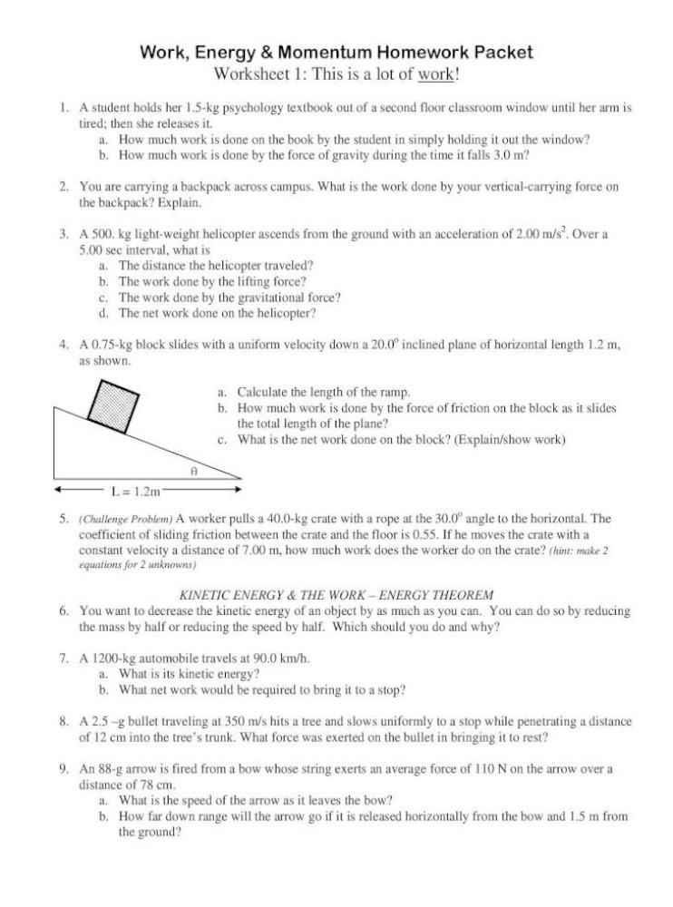 Coefficient Of Friction Worksheet Answers Work Energy Momentum Homework Packet Worksheet Energy