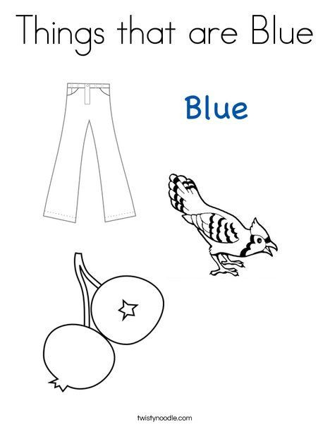 Color Blue Worksheets for Preschool Things that are Blue Coloring Page From Twistynoodle
