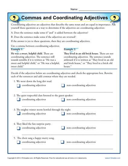 Comma Worksheet Middle School Pdf Mas and Coordinating Adjectives