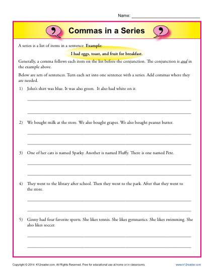 Comma Worksheets High School Pdf Mas In A Series