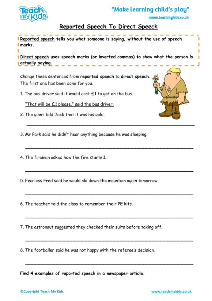 Comma Worksheets High School Pdf Reported Speech to Direct Tmk Education Punctuation