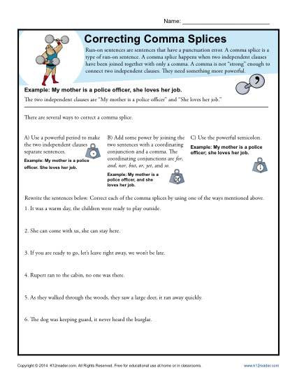 Comma Worksheets Middle School Correcting Ma Splices