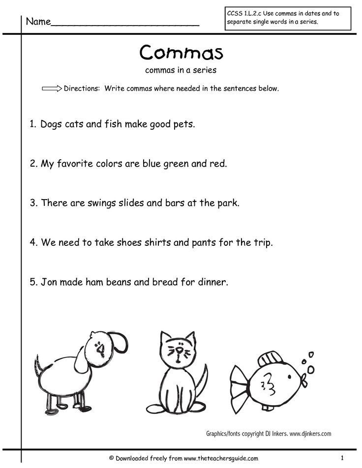 Commas In A Series Worksheet Grammar Worksheets Mas In A Series First Grade Free