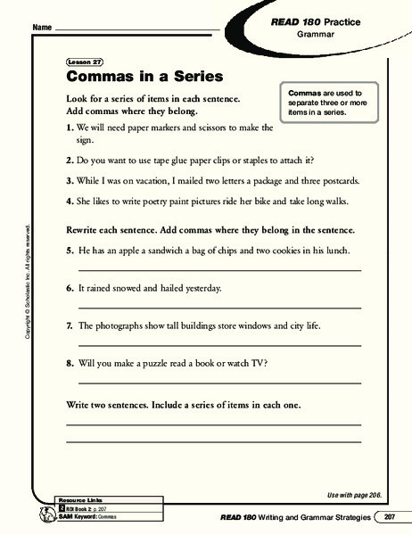 Commas In A Series Worksheet Mas In A Series Worksheet for 5th 8th Grade