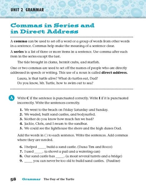 Commas In A Series Worksheet Mas In Series and In Direct Address Worksheet for 3rd